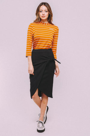 Tie tulip pencil skirt-BLACK