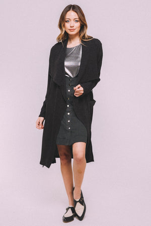 Belted knit trench-CHARCOAL