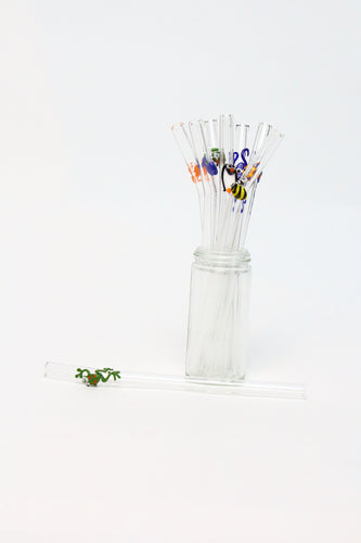 decorated glass straws