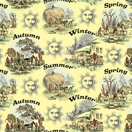 "Old Farmers Almanac Floral Seasons 44"" fabric by Sykel, 10324-X"