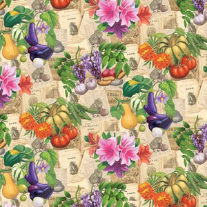 "Old Farmers Almanac Floral Vegetables on Sepia 44"" fabric by Sykel, 10325-X"