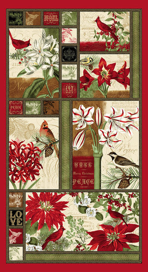 "Red Holiday 24"" Panel by Blank Quilting, Yuletide Botanica, 1063P-88 Red"