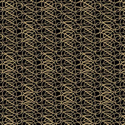"Black and Gold Scroll 44"" fabric by Blank Quilting, Yuletide Botanica, 1070-99"