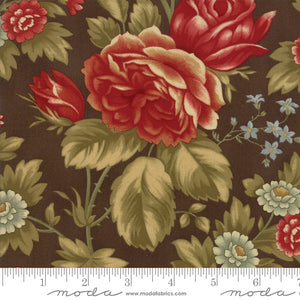 "Chocolate Brown flowers 108"" fabric by Moda, Rosewood, 11148-13"