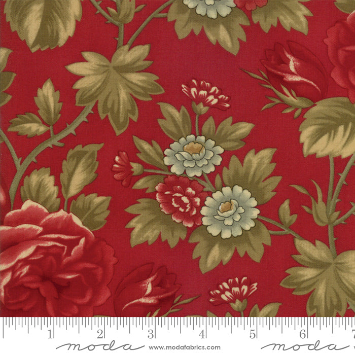 "Cherry red  flowers 108"" fabric by Moda, Rosewood, 11148-16"