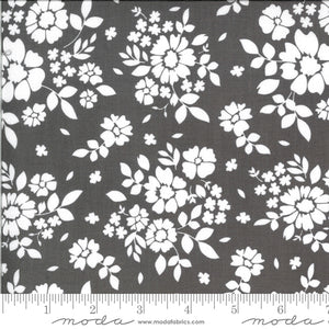 "Twilight gray flowers 108"" fabric by Moda, 11159 29, 100% cotton with a sheen"