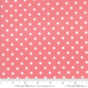 "Bloomington Rose White Polka dot 108"" fabric by Moda, 11162 14, Lella Boutique"