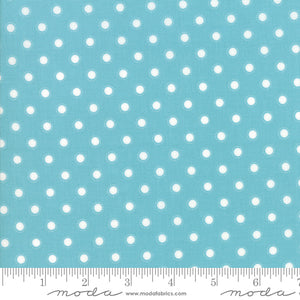 "Bloomington Teal White Polka dot 108"" fabric by Moda, 11162 16, Lella Boutique"