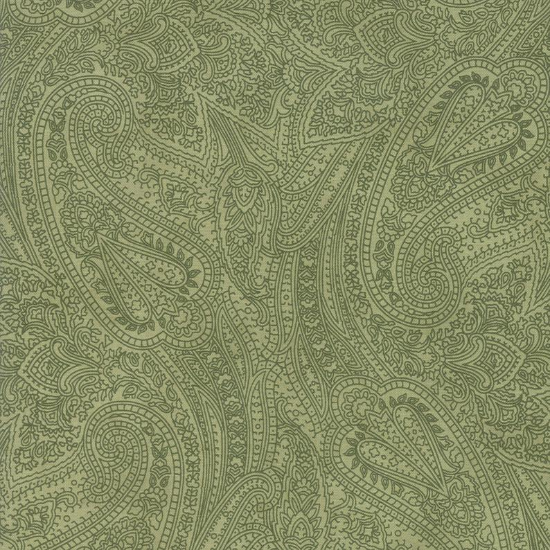 "Mistletoe Green Paisley 108"" fabric by Moda, 11164 13, Marches de Noel by 3 Sisters"