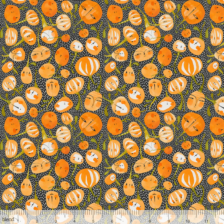 "Black Pumpkin Party, 44"" quilt fabric, Blend Fabrics, 112.119.03.1, Fall Goodness"
