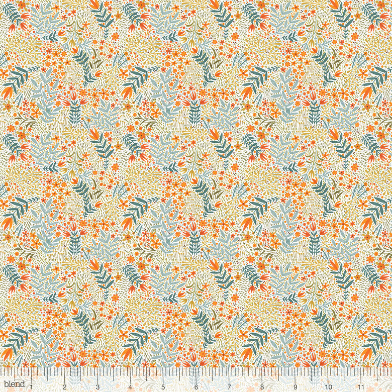 "White skeleton flowers, 44"" quilt fabric, Blend Fabrics,  112.119.05.1, Fall Goodness"