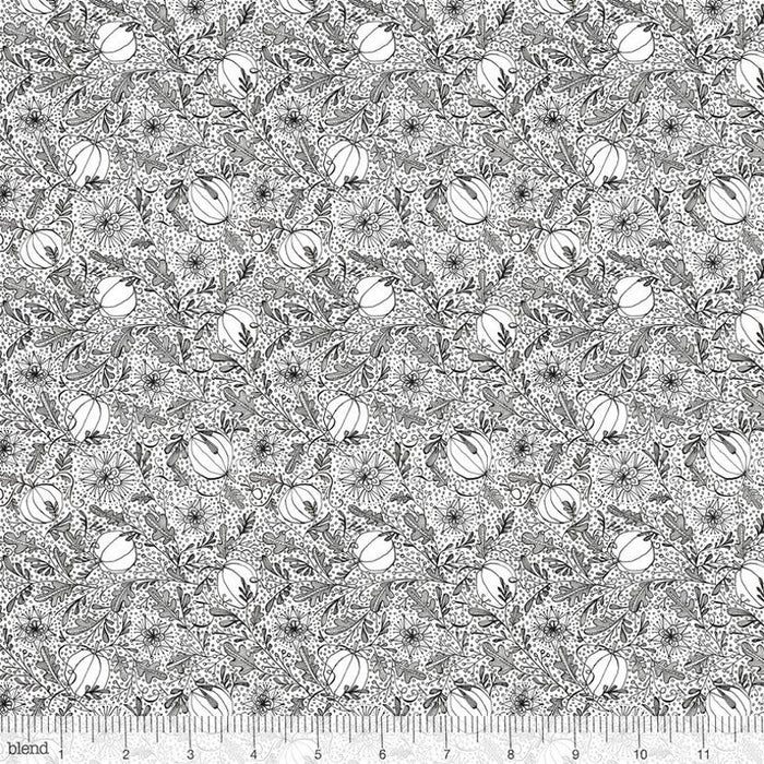 "Gray Happy Halloween Pumpkins 44"" fabric, Blend Fabrics, 112.123.05.1"