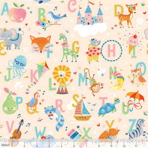 "Peach Alphabet animals, 44"" quilt fabric, Blend Fabrics, 123.106.01.1, Storytime"