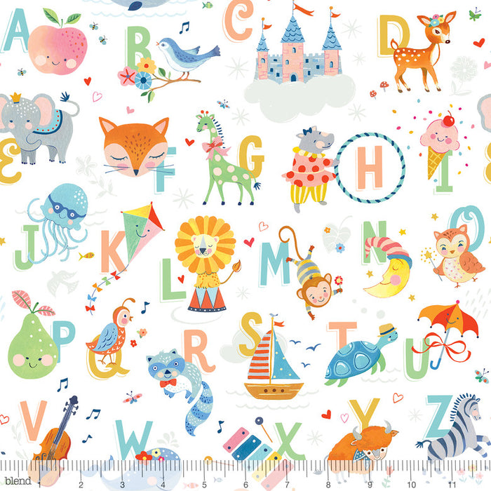 "White Alphabet Animals, 44"" quilt shop, Blend Fabrics, 123.106.01.2 Storytime"