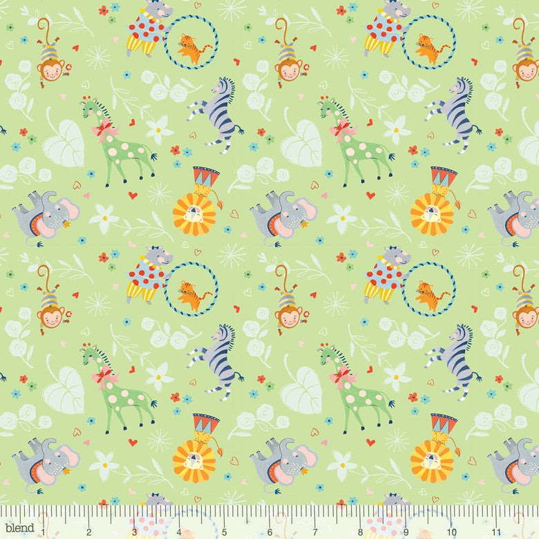 "Big Top Animals mint green, 44"" quilt fabric, Blend Fabrics, 123.106.04.2, Storytime"
