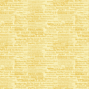 "Yellow Amendment Names 44"" fabric by Benartex, 12321-33, Votes for Women"