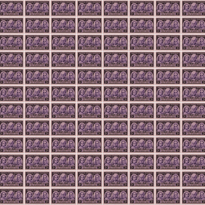 "Purple 100 Years of Progress Stamps 44"" fabric by Benartex, 12323-66, Votes for Women"