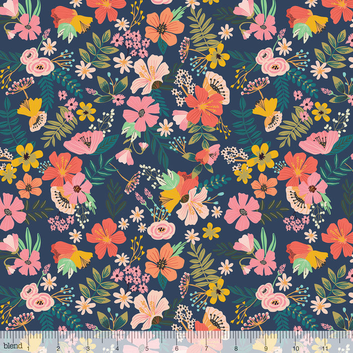"Blue Flowers, Floral Pets collection, 44"" quilt fabric, Blend Fabrics, 129.101.03.1"
