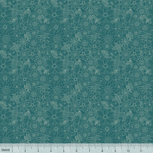 "Turquoise Flowers 44""quilt fabric, Blend Fabrics, 129.101.04.1"