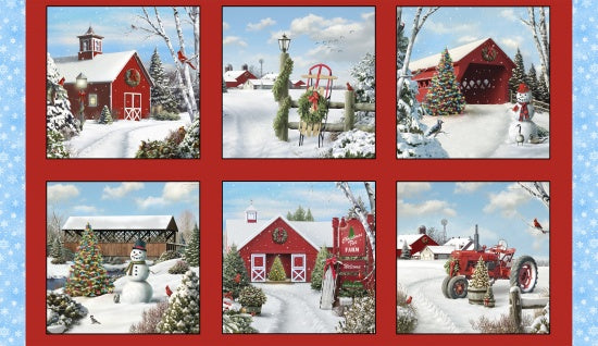 "Country Scene blocks, 24"" panel, Elizabeth's Studio, 13002-red, 'Tis the Season"