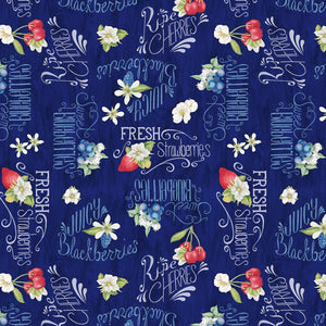 "Blue Berry Sweet 44"" fabric,  Wilmington Prints, 13003-431"