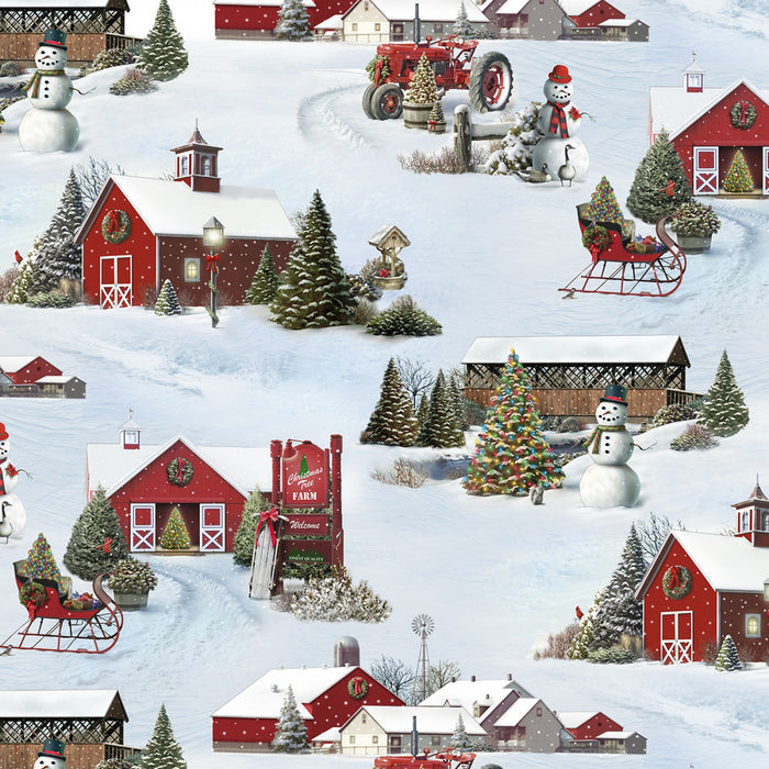 "Wintertime Country Scene, 44"" quilt fabric, Elizabeth's Studio, 13003-snow,  'Tis the Season"