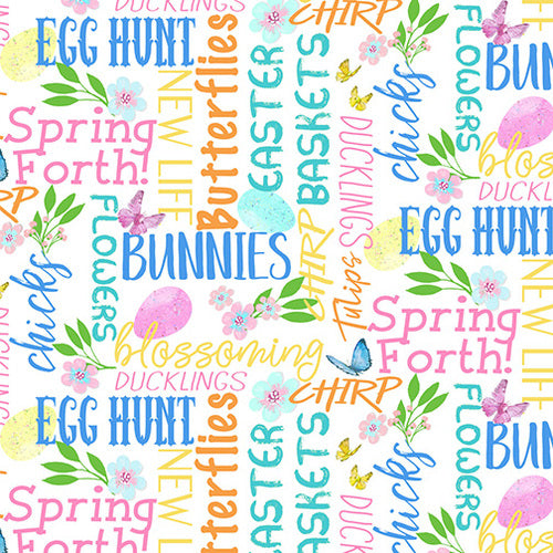 "Easter Parade Words by Henry Glass, 44"" fabric, 1372-12"