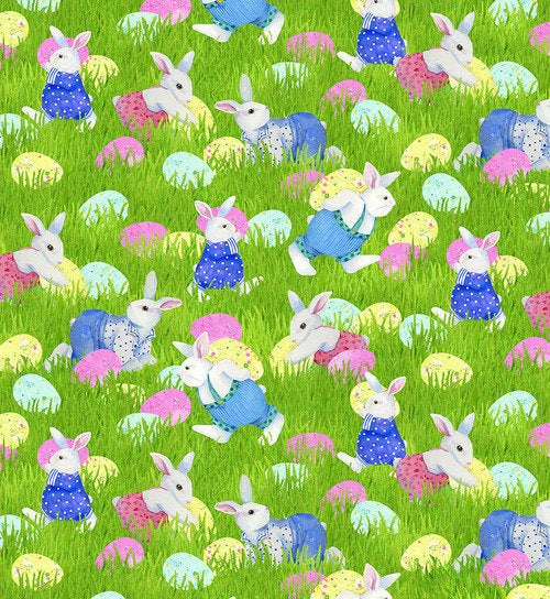 "Easter bunny and eggs by Henry Glass, 44"" fabric, 1373-66, Easter Parade"