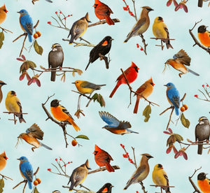 "Assorted birds on blue background 44"" fabric, Elizabeth Studio, 14001-blue"