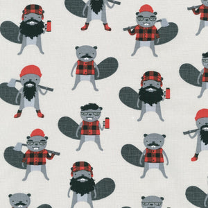 "Steel Burly Lumberjack Beavers by Robert Kaufman, 44"" fabric, 15992-185"