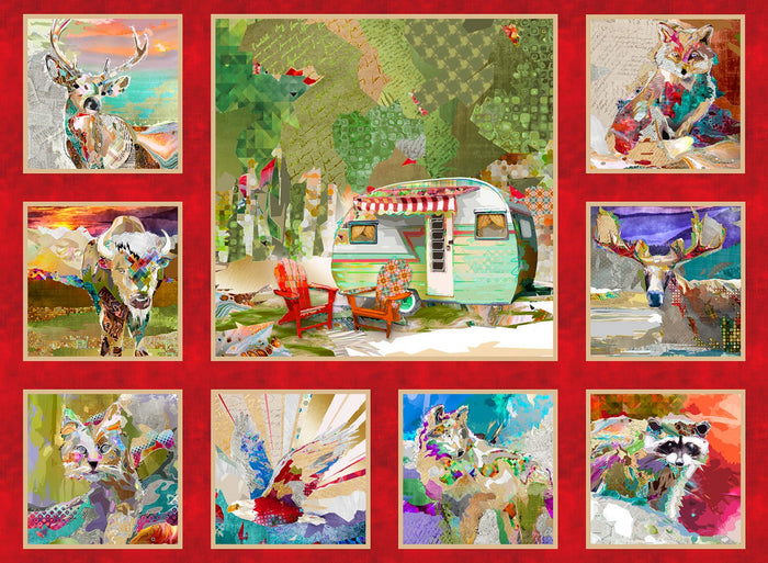 "The Great Outdoors camping 36"" x 44"" panel, Red, digital by 3 wishes, 16030-REDD, The Great Outdoors"