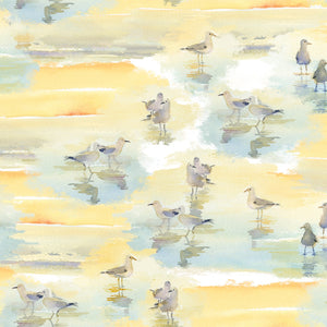 "Tan Sandpipers 44"" digital fabric by 3 wishes,  At the Shore, 16053-TAN"