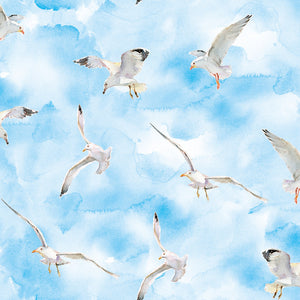 "Seagulls 44"" digital fabric by 3 wishes, The Great Outdoors, 16057-BLU"