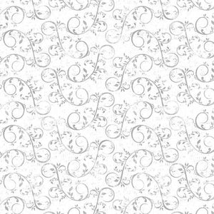 "White - Gray swirl vine Holiday Homestead, 44"" fabric, Henry Glass, 1616-90"