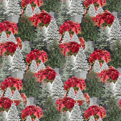 "Holiday Homestead Poinsettia,  44"" fabric, Henry Glass, 1620-66"