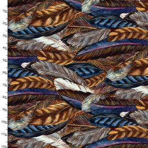 "Feathers 44"" digital fabric by 3 wishes, 16486-Brn"