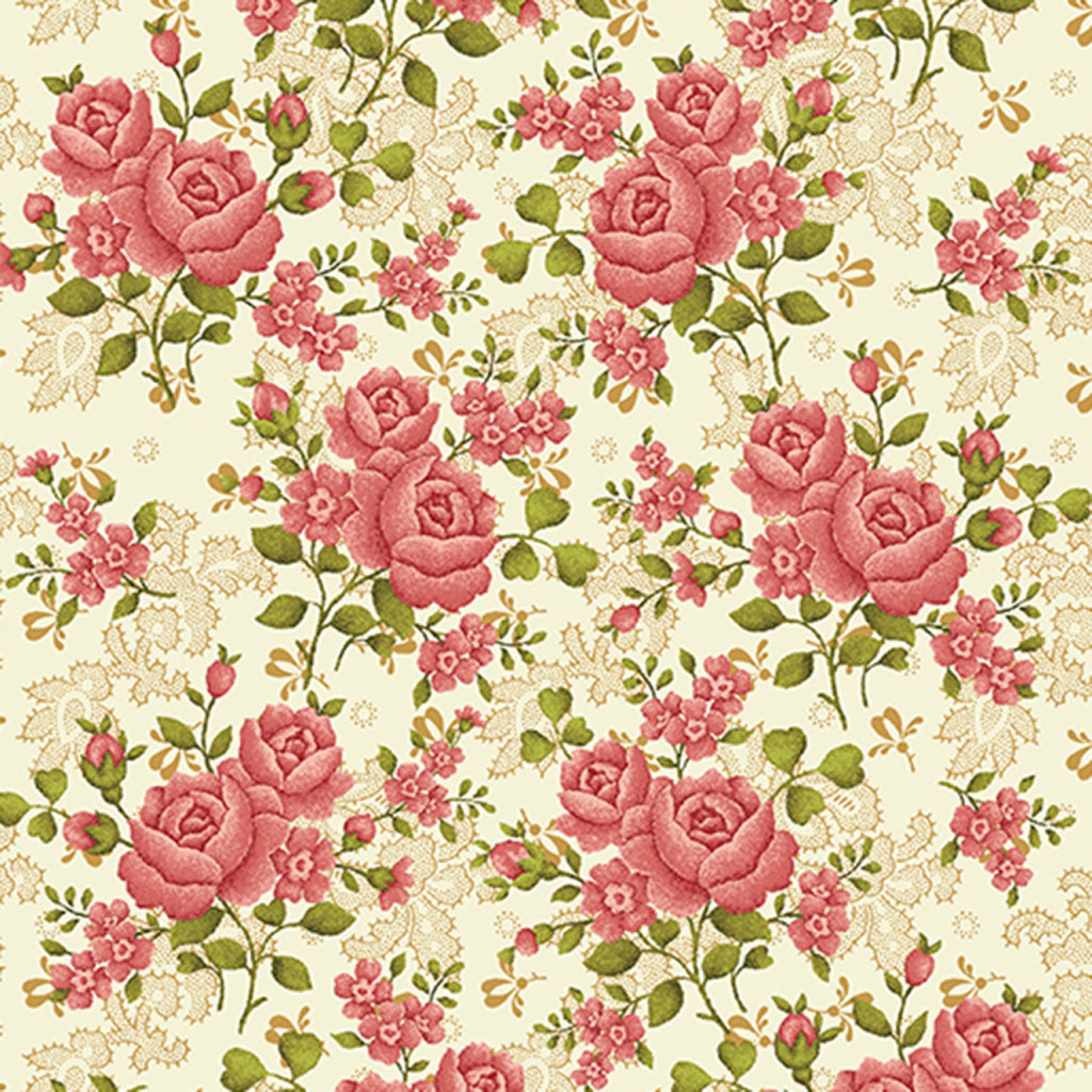 "Benartex 108"" Fabric 1649WB-07 Homestead Cream Climbing Rose"