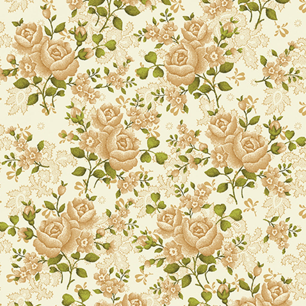 "Cream and sage flowers (roses)108"" fabric by Benartex, 1649WB-74, Homestead"