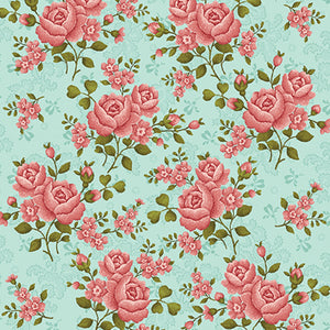 "Green Teal Roses 108"" fabric by Benartex,  Homestead,  1649WB-80"