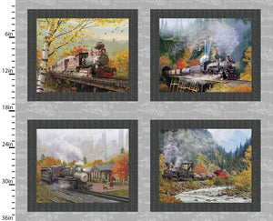 "Trains 36"" digital panel by 3 wishes, 16587-Gry, Autumn Steam Collection"