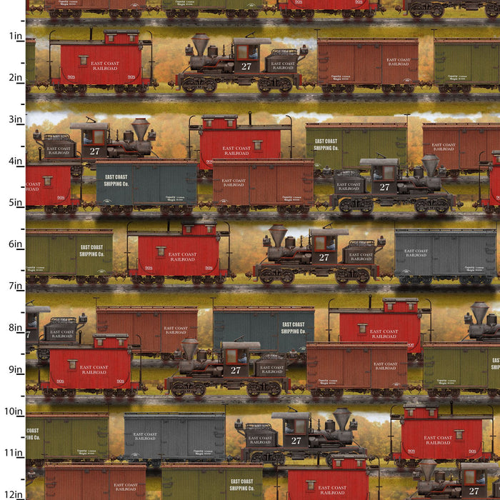 "Train Yard 44"" digital fabric by 3 wishes, 16589-Mlt, Autumn Steam Collection"