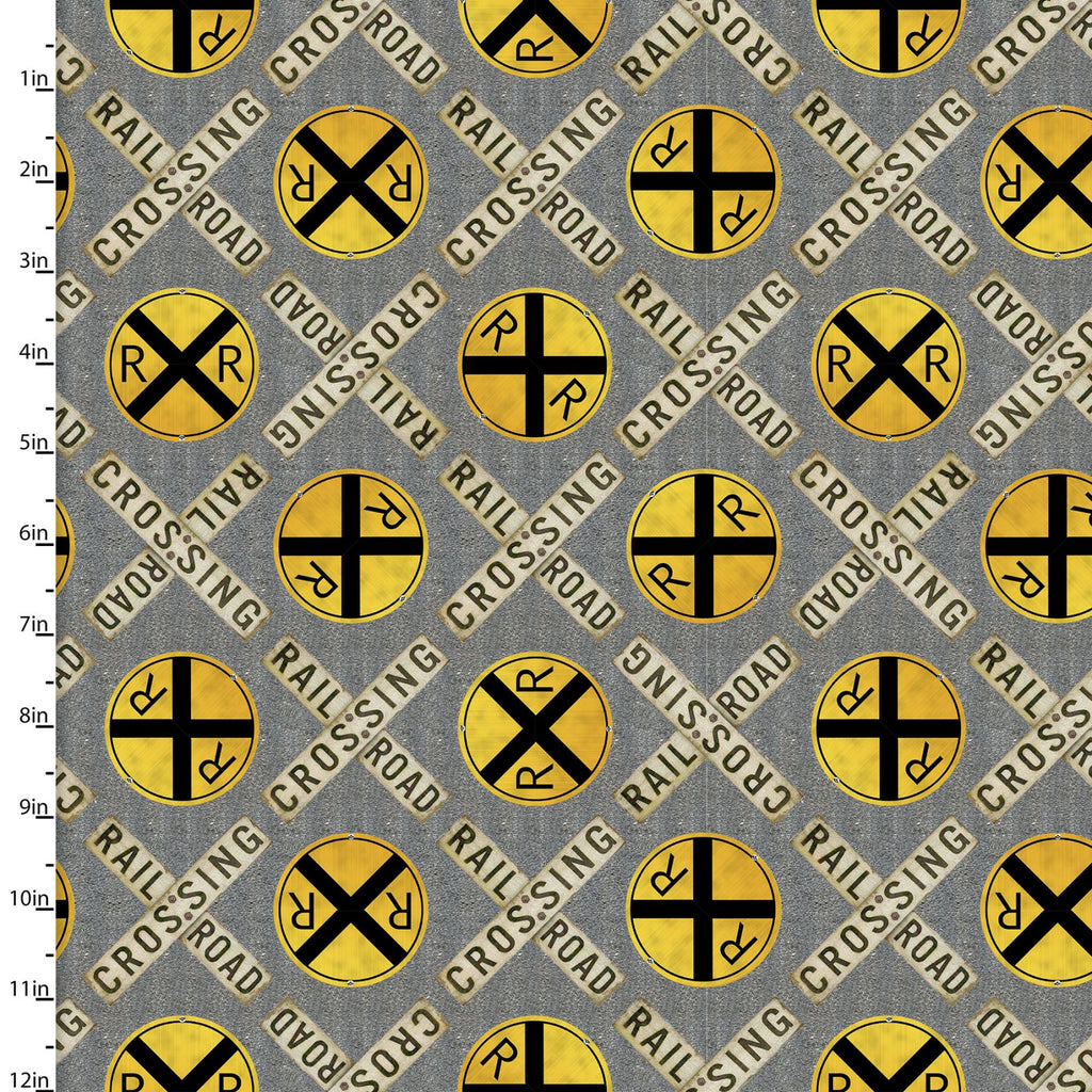 "Railroad crossing 44"" digital fabric by 3 wishes, 16591-Gry, Autumn Steam Collection"