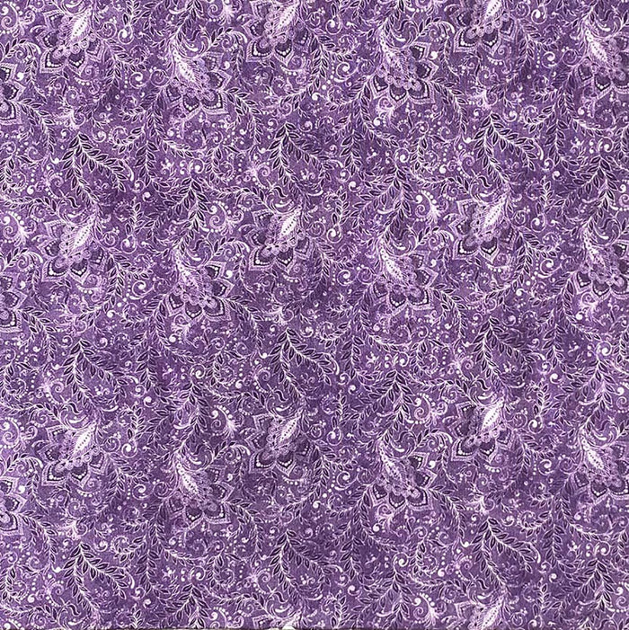 "Amethyst Purple Floral and Vines 118"" fabric by Oasis Fabrics, 18-40107, Shadows"