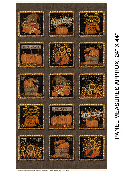 "Welcome Fall 24"" Panel Espresso by Benartex, 1835-77"
