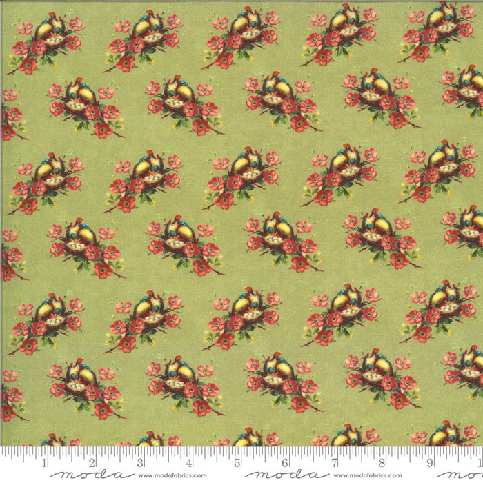 "Pistachio Green Birds nest 44"" fabric, Moda, 7355 14D, Flea Market"