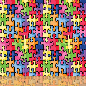 "Autism - Multi color Puzzle Pieces 44"" fabric by Windham, 19596-X"
