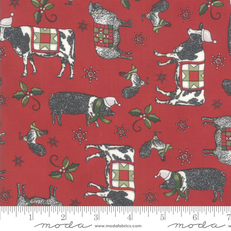 "Farm Animals, Red background, 44"" fabric, Moda, 19941 13, Homegrown Holidays"