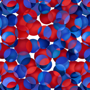 "Red, White & Blue Dotcentric  balls 108"" quilt fabric, Henry Glass, 2049W-78"