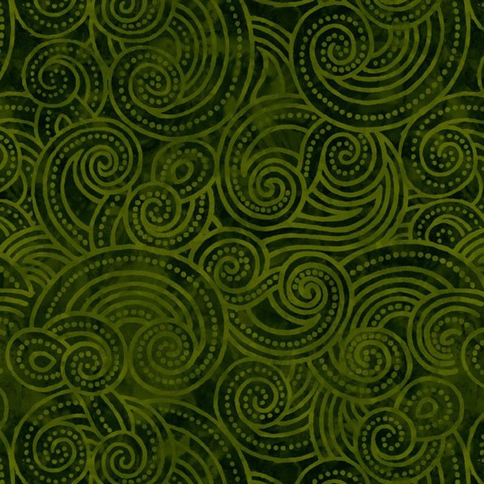 "Green Dotty Waves 108"" quilt fabric, Wilmington Prints, 2072-777"