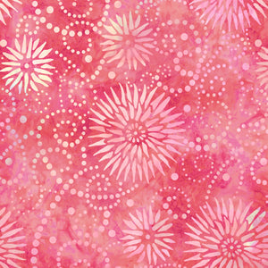 "Watermelon Pink Flower Burst 108"" quilt fabric, Wilmington Prints, 2084-331"
